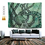 BAOQIN Tapiz Vintage Octopus Set Wall Tapestry Hippie Art Tapestry Wall Hanging Home Decor Extra Large tablecloths 60x70 Inches for Bedroom Living Room Dorm Room with Gifts