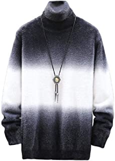 Tralounry Men Double-Breasted Color Block Comfy Hooded Personalized Pullover Sweater