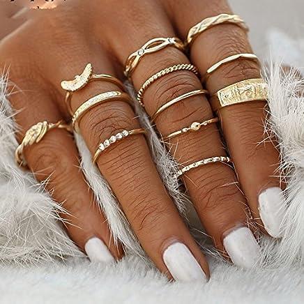 4019843637771 Xiaoxiongmao 12 Pc set Charm Gold Color Midi Finger Ring Set for Women  Vintage Punk