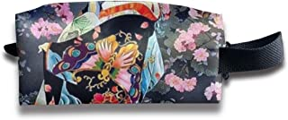 Szipry Cosmetic Bag Travel Handbag Retro Japanese Geisha Prints Womens Girls Toiletry Bag Zipper Wallet with Wrist Band