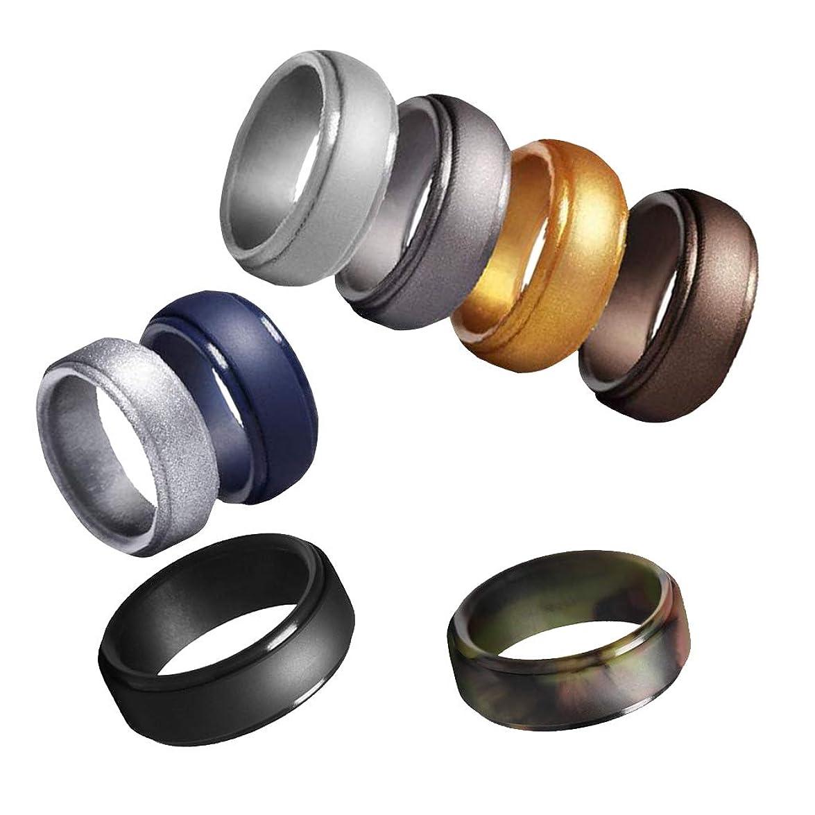 うめきナチュラ呼びかけるSM SunniMix 指輪 メンズ リング シリコーン指輪 スタンダードリング 婚約 結婚 カップル 8個入り 全8サイズ - サイズ9