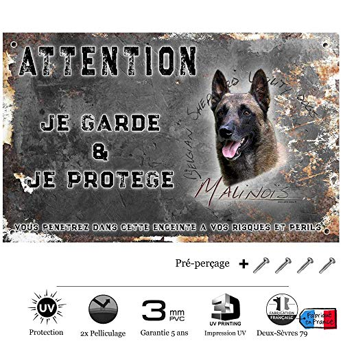 Pets-Easy.com Pancarte Attention au Chien personnalisée Malinois de Ring - pré percée et vis proposées. De 30 cm à 15 cm…