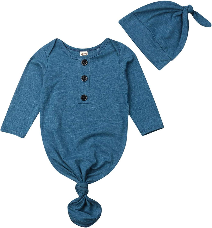 Newborn Baby Coming Home Nightgowns Long Sleeve Plaid Sleepwear Hat Romper Sleeping Bags