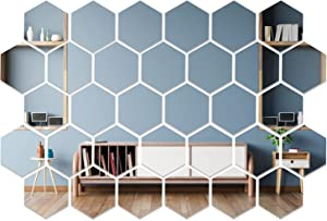 32 Pcs Hexagon Mirror Wall Sticker Removable Acrylic Mirror Wall Sticker Decal Self-Adhesive Mirror Tiles Wall Decor for Home Decor Bedroom Living Room Kitchen(4 x 3.4 x 2 inch)