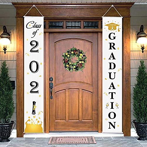 Graduation Porch Sign - Class of 2021 & Congrats Graduation Hanging Banner Set For Outdoor/Indoor Home Front Door Wall Graduation Party Decoration