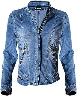 Dreamskull Womens Stand Collar Moto Stretch Denim Jean Jacket