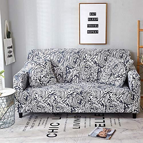 QRTQ Funda de sofá Fundas para sillas Poliéster Elástica Fundas sillas Impresión Elástica Funda para Sofá Chaise Longue en Forma de L (En Blanco y Negro,4 plazas: 235-310cm)