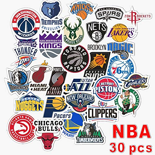 PVC-Aufkleber, Vinyl, Laptop, Autoaufkleber, wasserdicht, sonnenlichtbeständig, langlebig, für Autos, Motorräder, Gepäck, Skateboard-Dekor NBA Basketball Teams