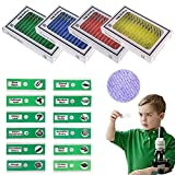 QIXINSTAR 48pcs Prepared Plastic Microscope Slides Biological Specimen with 4 Boxes for Children