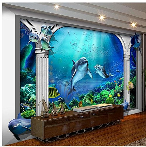 Mznm Custom Photo Wallpaper 3D Muurschilderingen Behang Sea World Marine Aquarium Romeinse zuil 3D Tv-instelling Muurbehang woonkamer 280 x 200 cm.