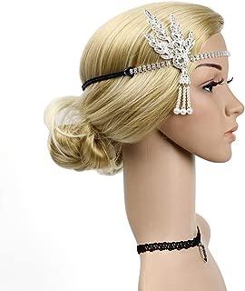 Vintage Flapper Headband Daisy Buchanan Costume Great Gatsby Leaf Tiara Headpiece 1920's Fancy Hair Accessory (Silver)