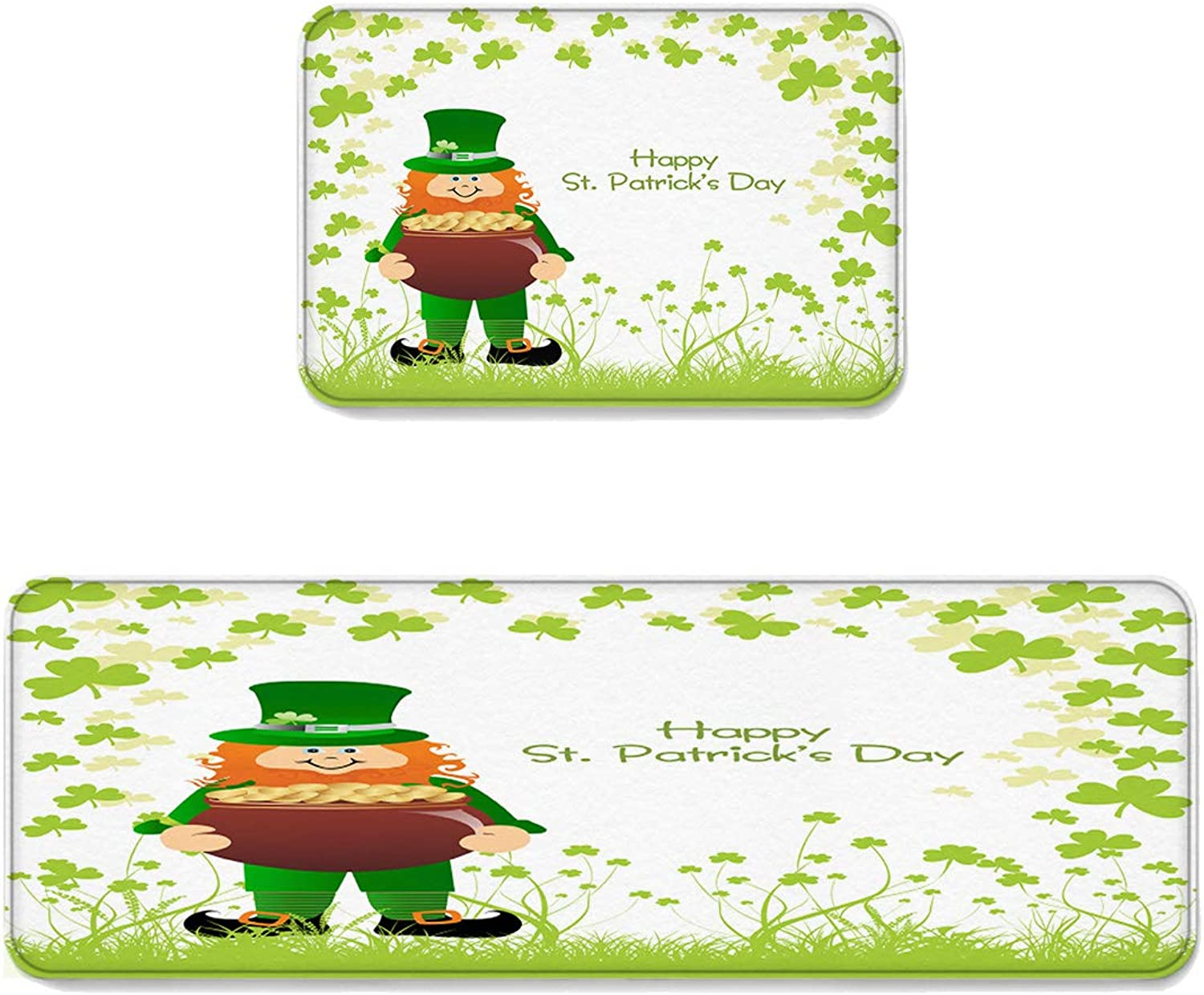 Kitchen Rug Sets 2 Piece Floor Mats Non-Slip Rubber Backing Area Rugs Leprechaun Green Shamrocks Happy St. Patrick's Day Doormat Washable Carpet Inside Door Mat Pad Sets (19.7  x 31.5 +19.7  x 47.2 )