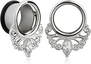 (1 Pair Simple Elegant White Zircon O-Ring Ear Plugs Tunnels Gauges Stretcher Piercings