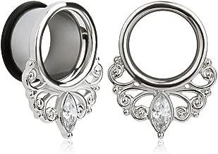 KUBOOZ(1 Pair Simple Elegant White Zircon O-Ring Ear Plugs Tunnels Gauges Stretcher Piercings