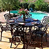 Lazy Susan - Frances Runder Gartentisch mit 6 Stühlen - Gartenmöbel Set aus Metall, Antik Bronze (April Stühle)