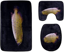 Asian Species of Goldfish Bathroom Rug Mats Set 3-Piece,Soft Shower Bath Rugs,Contour Mat and Toilet Seat Lid Cover Non-Sl...