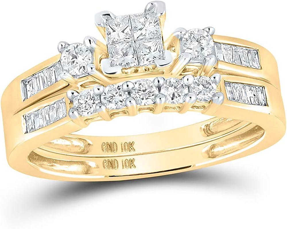 10kt Yellow Gold Princess Diamond Bridal Wedding Ring Band Set 3/8 Cttw