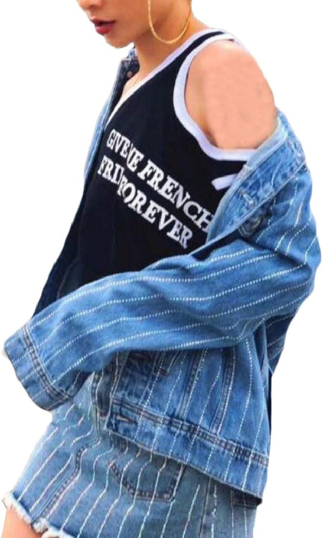 SweatwaterCA Womens Lapel Neck Club Boyfriend Washed Striped Elegant Buttons Pocket Denim Jackets