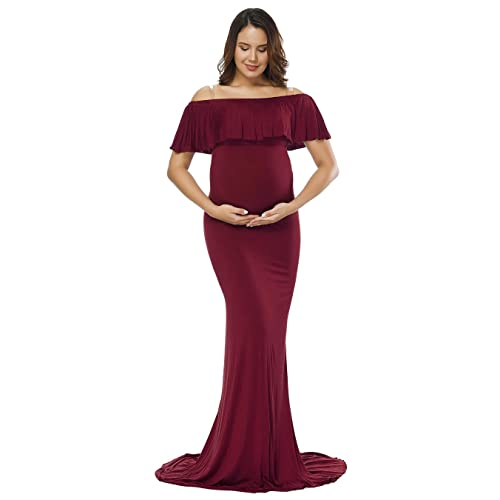 f995a212468 JustVH Women s Off Shoulder Ruffles Maternity Slim Fit Gown Maxi  Photography Dress