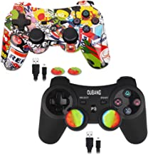 2 Pack PS3 Controller Wireless Dualshock 3 - OUBANG PS3 Remote for Playstation 3,The Best Choice for Gift (Graffiti+Black)