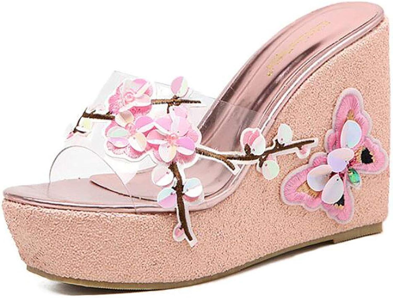 Women Wedge Sandals Glitter Sequin Open Toe Handmade Butterfly Beach Slipper