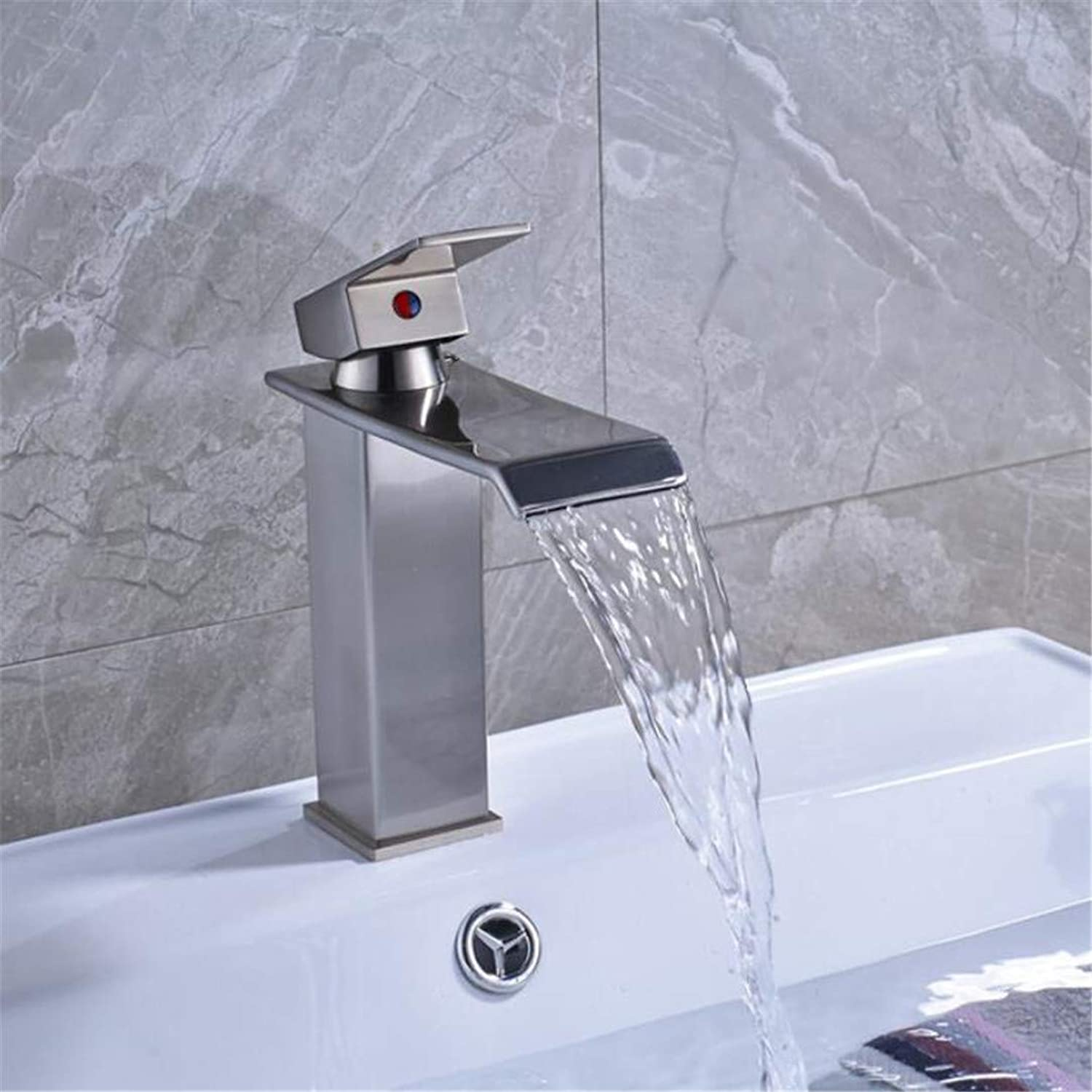 Faucet Washbasin Mixer Square golden Waterfall Basin Faucet One Handle Single Lever Bathroom Sink Vanity Mixer Faucet with Hot and Cold Water