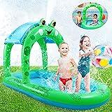 Kiddie Pool Splash Pad Kids Sprinkler - 68 Inches Frog Pool Float, 4 in 1 Inflatable Sprinkler for Kids Outdoor Toys, Kids Wading Pool, Baby Pool Travel Beach Pool Water Toys for Backyard Summer Pool