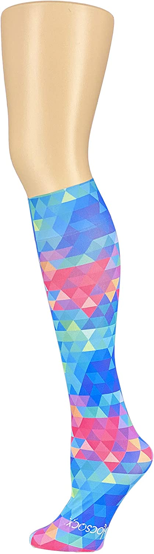 HOCSOCX Women's/Girl's Shin Guard Rash UNDER Sport Socks (Bright Kaleidoscope)
