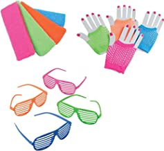 1980's Toy Party Favor Supplies Set for 12 Bundle 36 Pieces Neon Headbands Gloves Sunglasses
