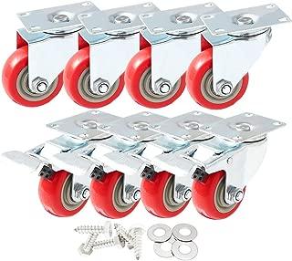 8 Pack 3 Inch Combo Caster Swivel Plate 4 w/Brake & 4 Plate Heavy Duty on Red PU Wheels with Heavy Duty Screws