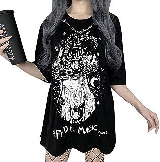 Yying Camiseta Negra Suelta Harajuku para Niñas Patrón de Oscuridad Punk Gótico Estampado Streetwear Camiseta Halloween Fe...