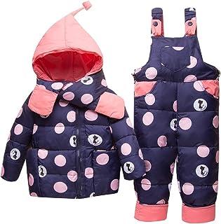 Bebé Invierno 3 Piezas Trajes de Nieve Capucha Plumón Chaqueta + Pantalones y Monos para La Nieve + Bufanda Niños Niñas Snowsuit Ropa Conjuntos