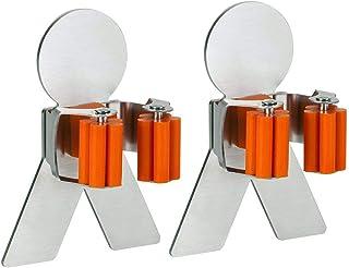 NEXCURIO Mop Broom Holder Organizer, SUS 304 Stainless Steel Brushed & Non-Slip Silicone Self-Adhesive Mounted Storage Rac...