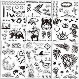 Qpout Tatuajes temporales para hombres adultos/mujeres/niños (150+ piezas), pegatinas de tatuaje de tótem tribal negro tatuajes de brazo de mano Cráneo Cabeza De Toro Mamba Serpiente Lobo Conejo Búho