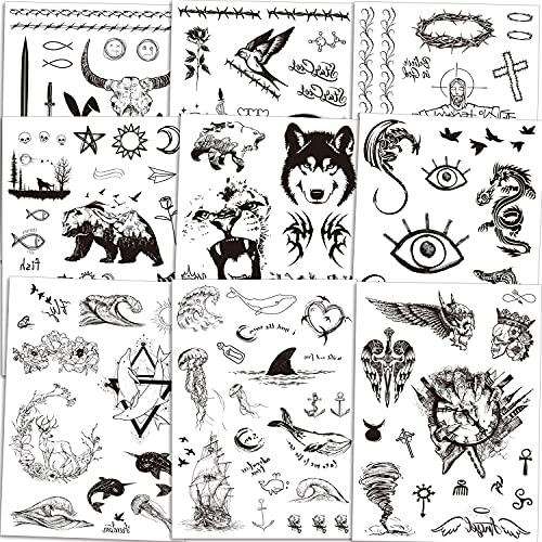 Qpout Tatouages Temporaires pour adultes hommes femmes enfants (150+pcs), noir Tribal Totem tatouage autocollants visage main bras tatouages Crâne de taureau tête Mamba serpent loup lapin croix hibou