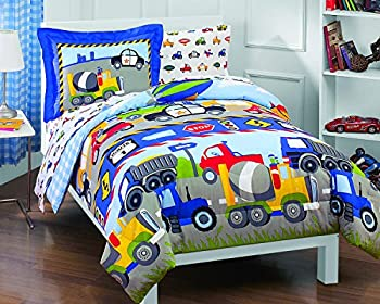 Dream Factory Trains and Trucks Comforter Set