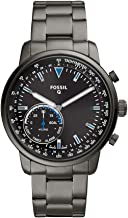 Fossil Men's Hybrid Smartwatch Watch with Stainless-Steel-Plated Strap, Grey, 22 (Model: FTW1174)