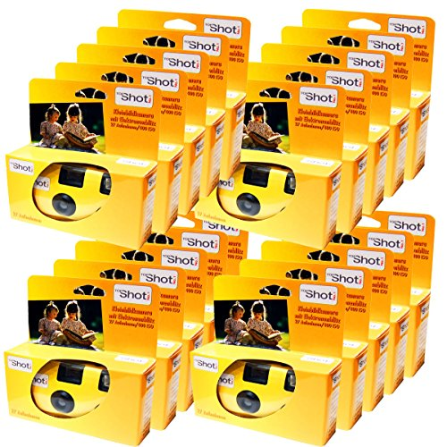 20 x upplaga fotoporst engångskamera/bröllopskamera/27 foton med blixt och batterier)