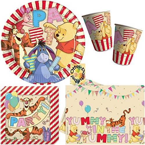 HHO Winnie Pooh Alphabet Partyset 54tlg. Teller Becher Servietten 2 Tischdecken für 16 Kinder