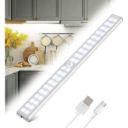 Lampe de Placard 40 LED, Tanbaby Eclairage Placard Détecteur de Mouvement, Reglette Led Rechargeable USB, 4 Modes d'Éclairage, Lumière de Placard, Bande Magnetique Adhésive Veilleuse LED (Blanc)