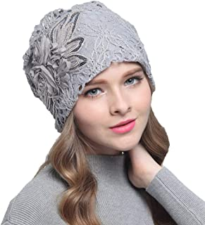 1718fcb1894 Potelin 1PCS Winter Warm Casual Cap Lace Flower Pattern Cotton Hat Head  Styling Decoration for Girls