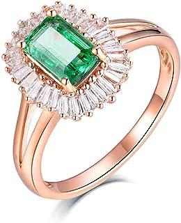 ButiRest - Fedi nuziali in oro rosa 18 carati 750 con quattro artigli, taglio smeraldo 0,8 ct verde smeraldo VS e diamante...