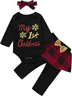 Baby Girls My First Christmas Outfit Set Xmas Plaid Bodysuit Pant with Headband