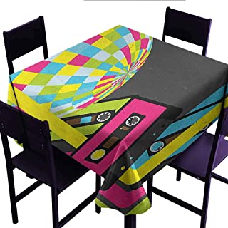 Xldavier Haro Polyester Fabric Tablecloth Custom Popstar Party,Retro Party Theme Disco Ball 80s Style Audio Cassette Tapes Colorful Stripes,Multicolor,Dinner Kitchen Home Decor 50