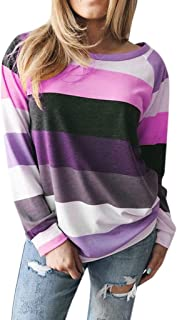 TOTOD Boutique Pullover Women's Loose Striped Sweatershirt Casual Long Sleeve T-Shirt Jumper Outwear Blouses