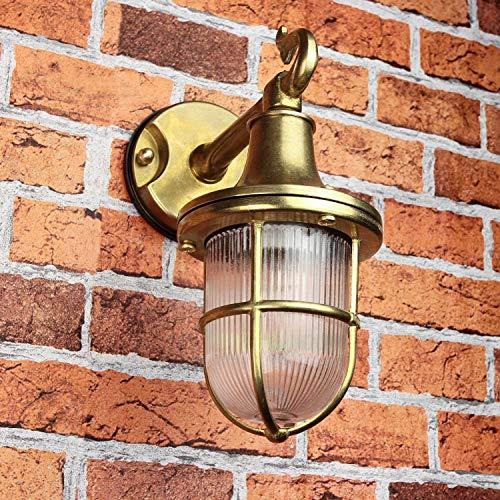 *Premium Außenwandleuchte Messing echt rostfrei rustikal massiv Rillenglas Käfigschirm Wandlampe Terrasse Hauswand*