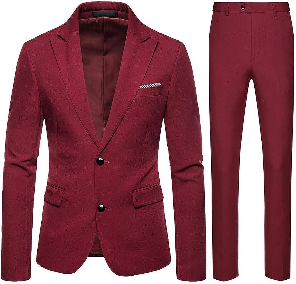 Casual Men 2 Piece Suit Notch Lapel 2 Button Blazer Dress Business Wedding Party Jacket Pants