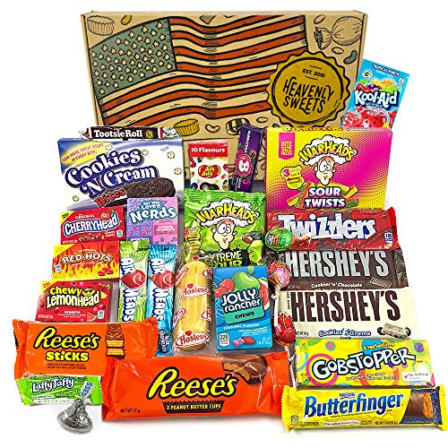 Heavenly Sweets Geschenkbox Amerikanische Süßigkeiten & Schokolade - Klassische USA-Marken-Box voller Leckereien - Ideales Geschenk für Geburtstag, Weihnachten, Halloween - 27 Snacks, 30x20x5cm