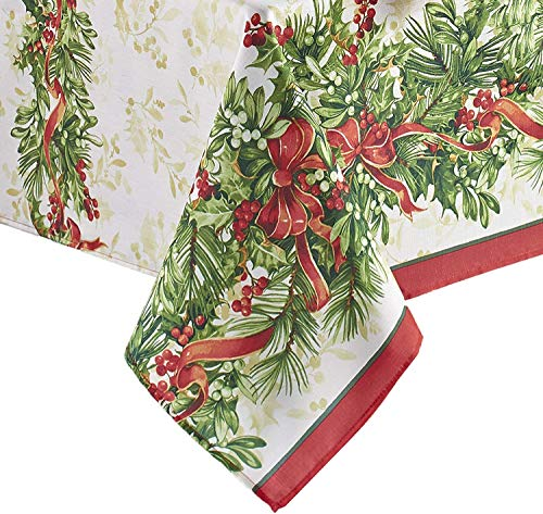 Newbridge Holly Ribbon Traditions Fabric Christmas Holiday Tablecloth by Newbridge, Xmas Ribbons Double Border Tablecloth, 60 Inch x 144 Inch Oblong/Rectangle