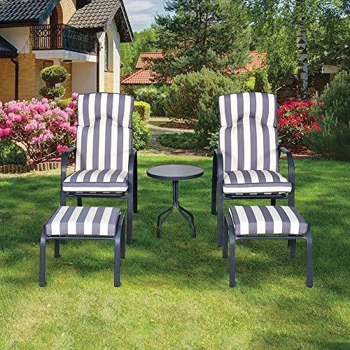 Lewis's 5 Piece Windsor Outdoor Bistro Set | Garden And Patio Table And Chair Set | Reclining Garden Furniture | 1x Tables 2x Chairs 2x Stools